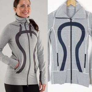 Lululemon Stride Striped Gray Full Zip Jacket 2